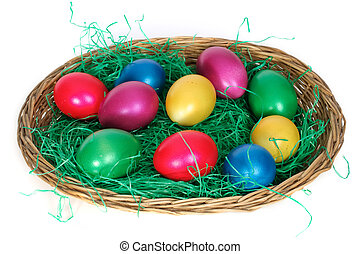 Easter basket in front of white