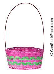 Easter Basket Isolated On Pure White Background