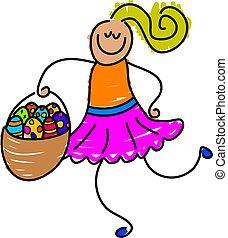 easter basket - little girl carrying a basket of easter eggs