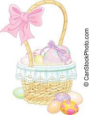Pretty Easter basket full of eggs