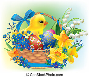 Easter basket with a baby chick. Contains transparent objects. EPS10