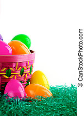 Easter basket with colored eggs - Image of Easter basket...