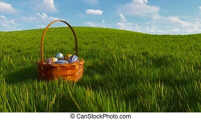 Easter basket with colorful eggs among green grass