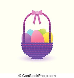 Easter Basket With Colorful Eggs Icon Isolated