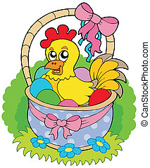 Easter basket with cute chicken - vector illustration.