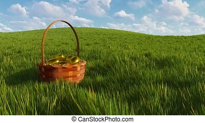 Easter basket with eggs among green grass Close-up