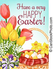 Easter basket with eggs and flowers greeting card