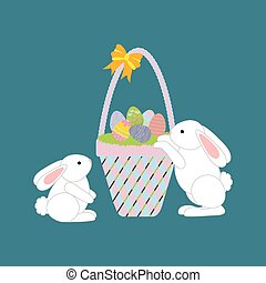 Easter Basket with eggs and rabbit