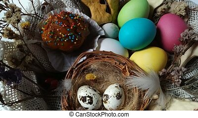 Easter basket with eggs cake dried flower rotation