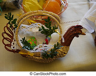 Easter basket with food