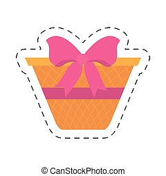easter basket with pink ribbon icon