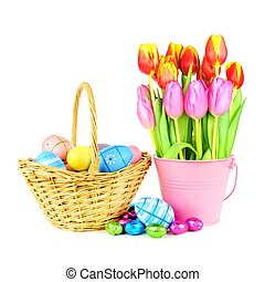 Easter basket with tulips - Easter basket with eggs and ...