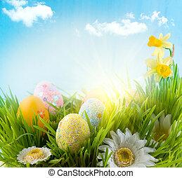 easter., beau, coloré, oeufs, dans, printemps, herbe, pré, sur, ciel bleu