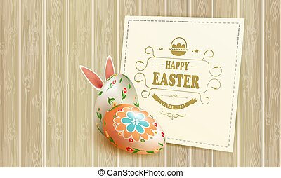 Easter beige composition with a silhouette of eggs, bunny ears, willow branches and a square frame,