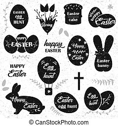 Easter. Black icons on white background. Easter eggs silhouette.