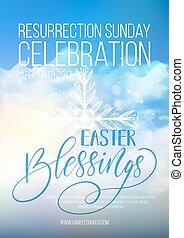 Easter Blessings, vector Easter religious poster template