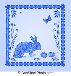 Easter blue bunny with butterfly