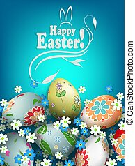 Easter blue composition with eggs with a beautiful different pattern and colors in white and blue