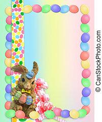 Easter Border eggs bunnies - illustrated Easter eggs border...