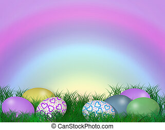 Illustration and image composition of colored eggs in grass for Easter card, background or border.