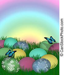 Easter Border Eggs in Grass