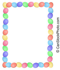 Simple illustrated Easter egg border for greeting card, stationery or holiday background with copy space