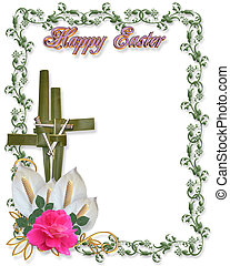 Image and illustration composition for Easter card, border, invitation or background with cross of palms, nails, flowers and copy space.