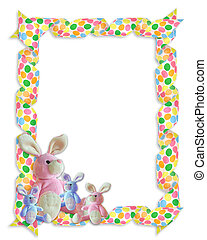 Easter Border ribbons bunnies - Image and illustration...