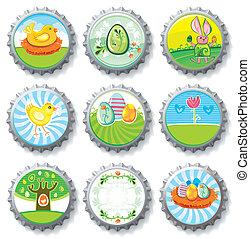 Easter bottle caps- vector buttons.