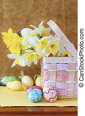 Easter Bouquet and Easter Eggs - Easter eggs and daffodils...
