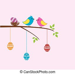 Easter branch with birds