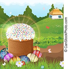 Easter bread and painted eggs on the meadow. - Easter bread...