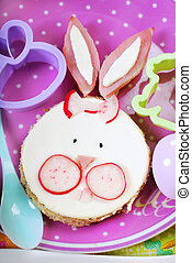 easter breakfast for kids with funny sandwich