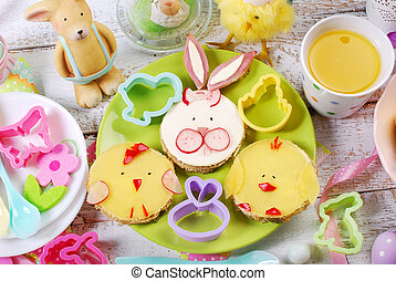 easter breakfast for kids with funny sandwiches