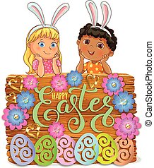 Easter bright wooden banner design paper flowers with lace  and kid.