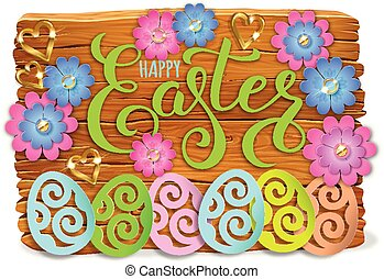 Easter bright wooden banner design paper flowers with lace.