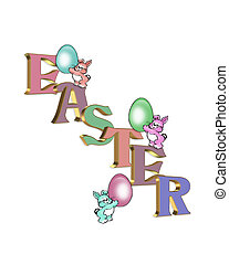 Easter bunnies and 3D text - Illustration composition of 3...