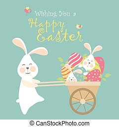 Easter bunnies and easter eggs - Easter bunnies and easter...
