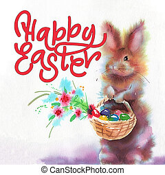 Easter bunnies and Easter eggs. Watercolors illustration with cute animals. Easter postcard
