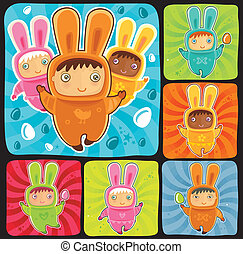 Easter Bunnies babies - A cute little babies dressed as an...