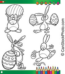 easter bunnies cartoons for coloring book