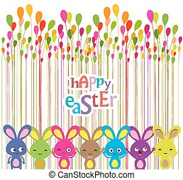 easter bunnies colorful background