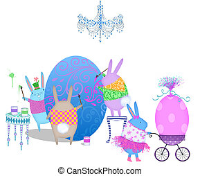 Easter Bunnies Decorating Eggs - Cute Easter bunnies busy...