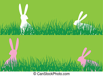 easter bunnies in grass, vector