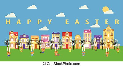 Easter bunnies in the city