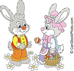 Easter Bunnies - Little rabbits with a basket of Easter eggs