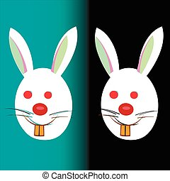 Easter bunnies on a black and blue background