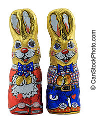 Easter Bunnies - Photo of two tinfoil covered easter bunnies...