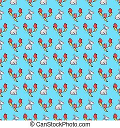 Easter bunnies seamless pattern17