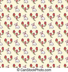 Easter bunnies seamless pattern18